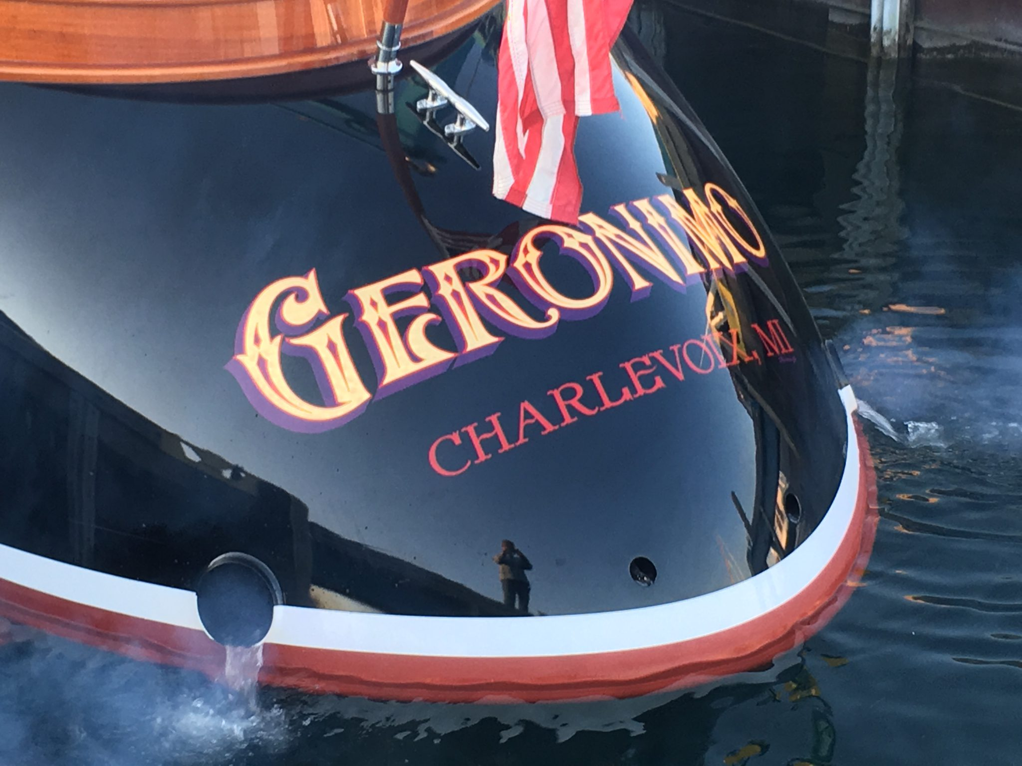 Amazing curved transom of Geronimo