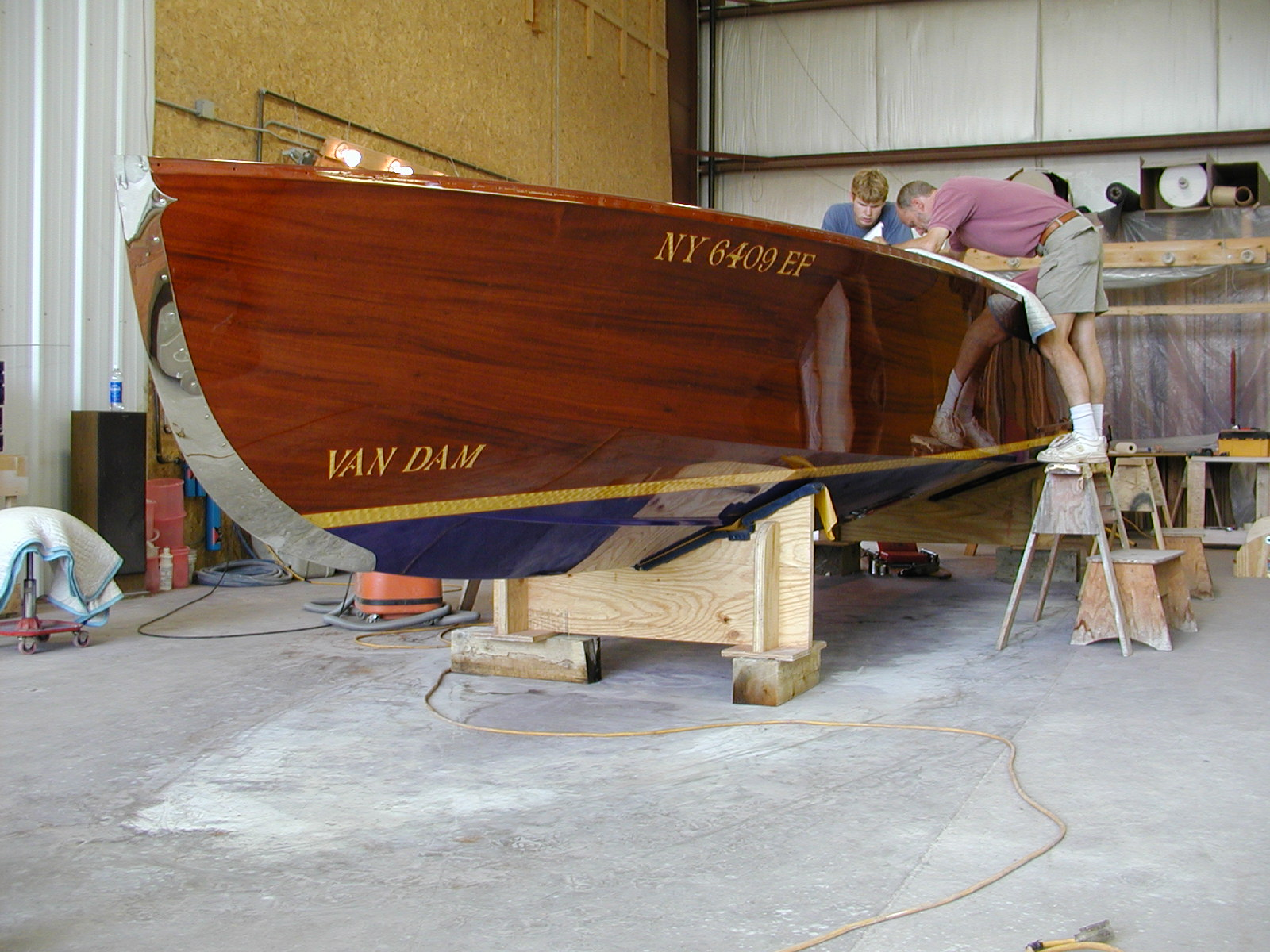 Reviewing interior work on Jacqueline