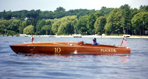 Flicker boat on the water.