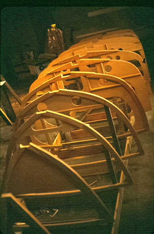 Ribs of Feather being assembled in first boat shop of Van Dam Custom Boats