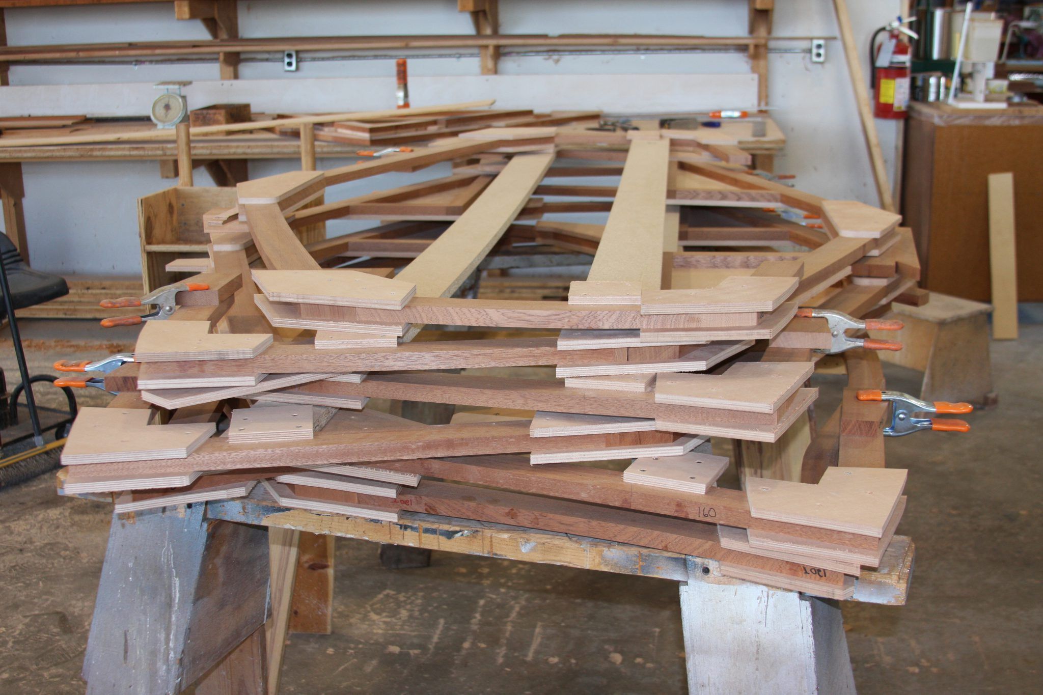 assembled frames ready for hull construction