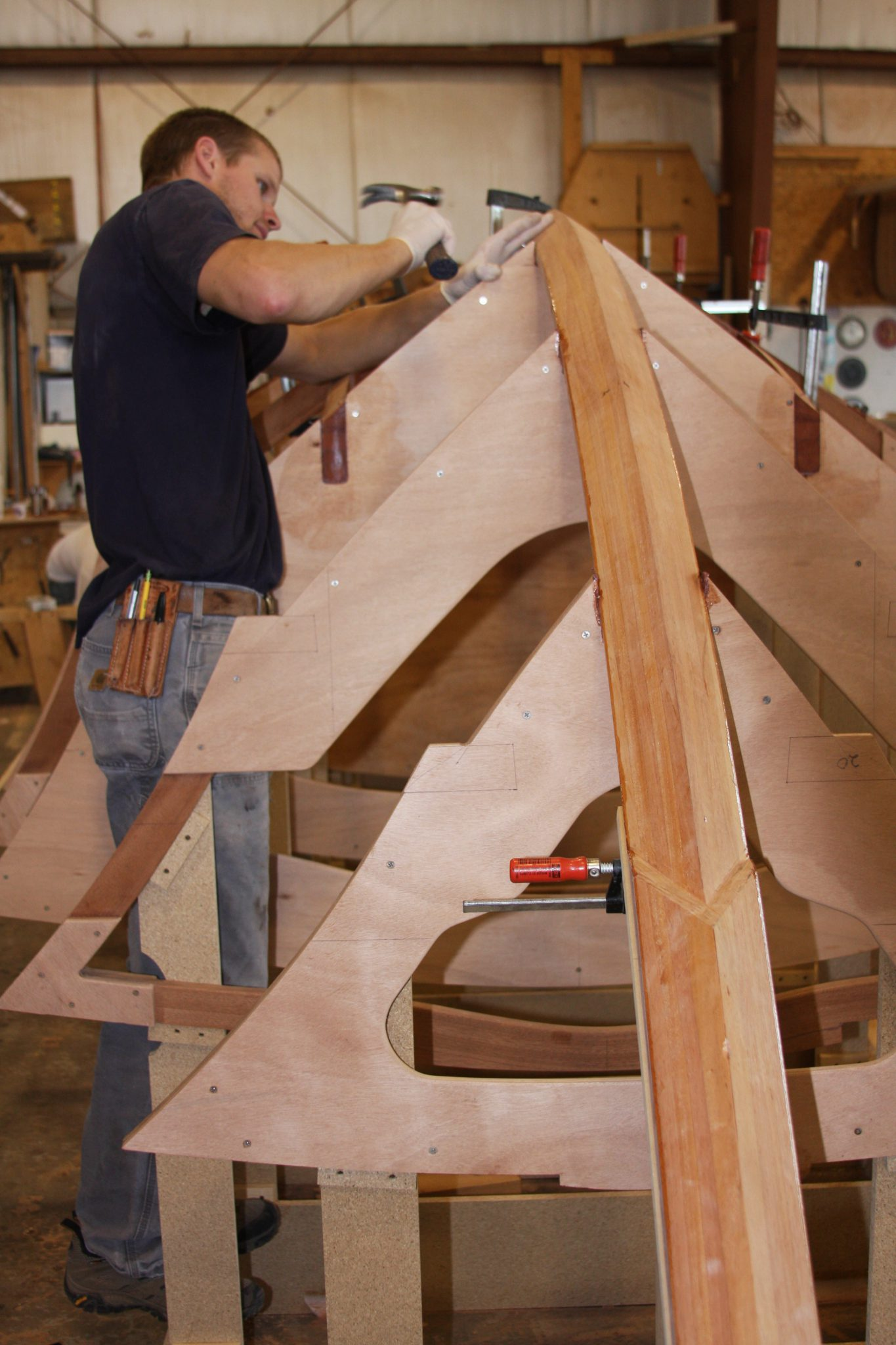 attaching a hull frame