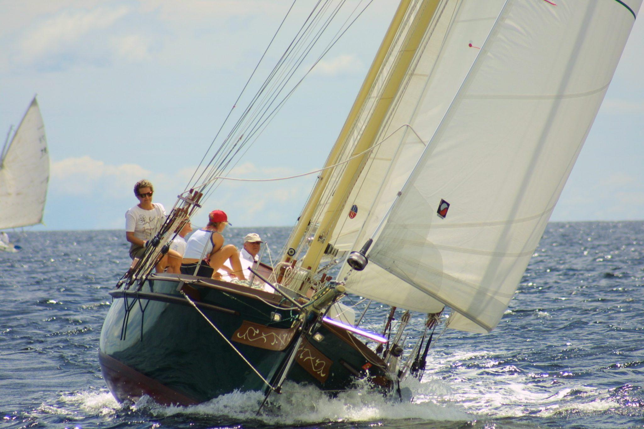 Morgana under sail on a sunny day