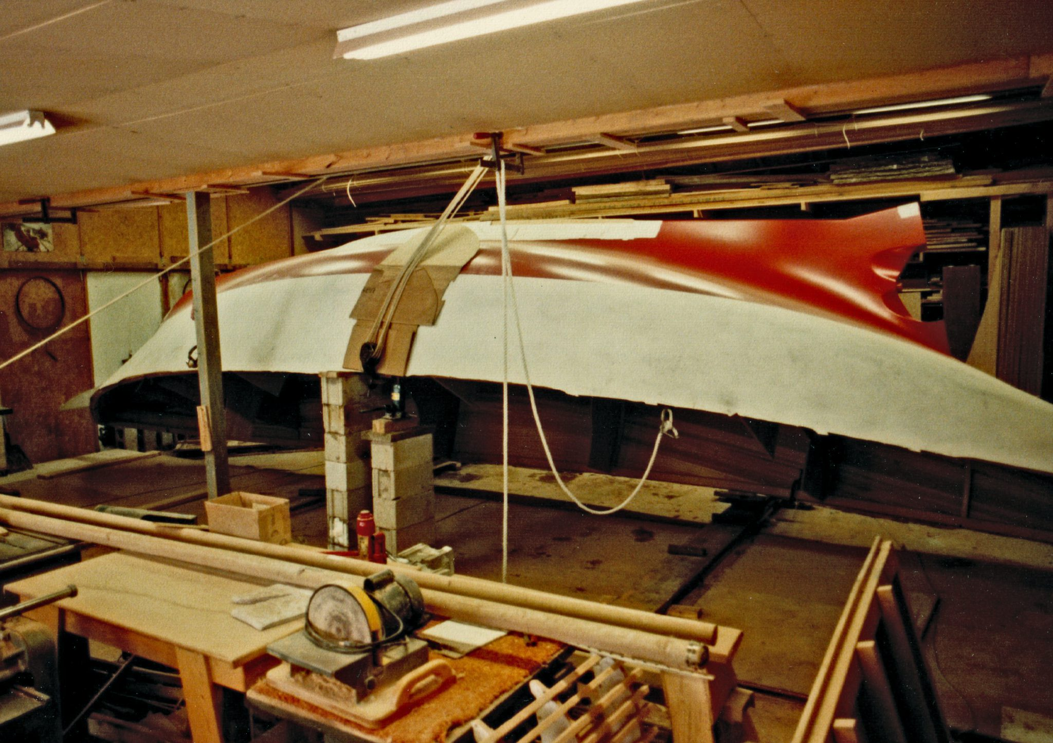 Painting the hull of Morgana