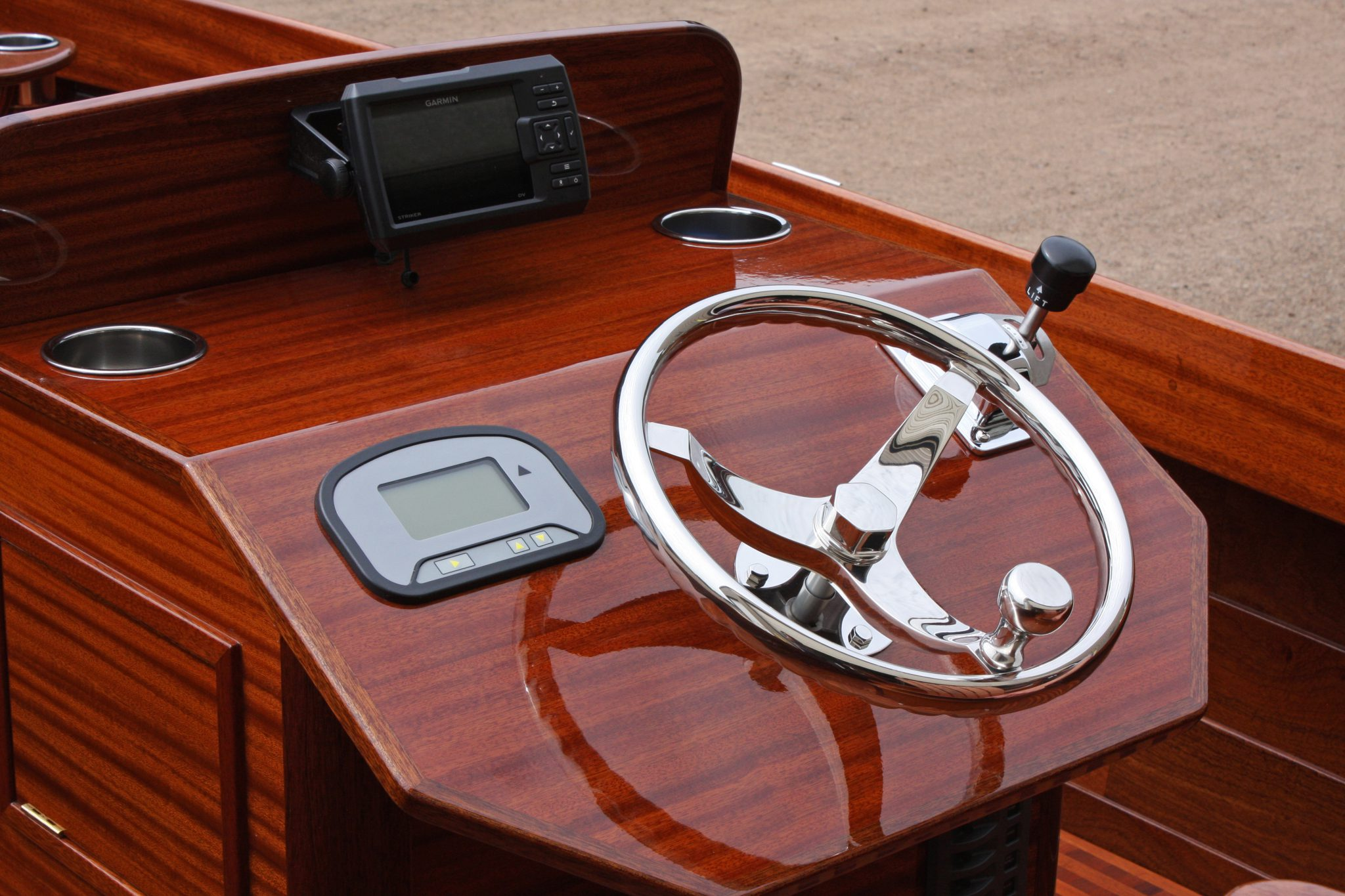 Mahogany console with stainless steering wheel