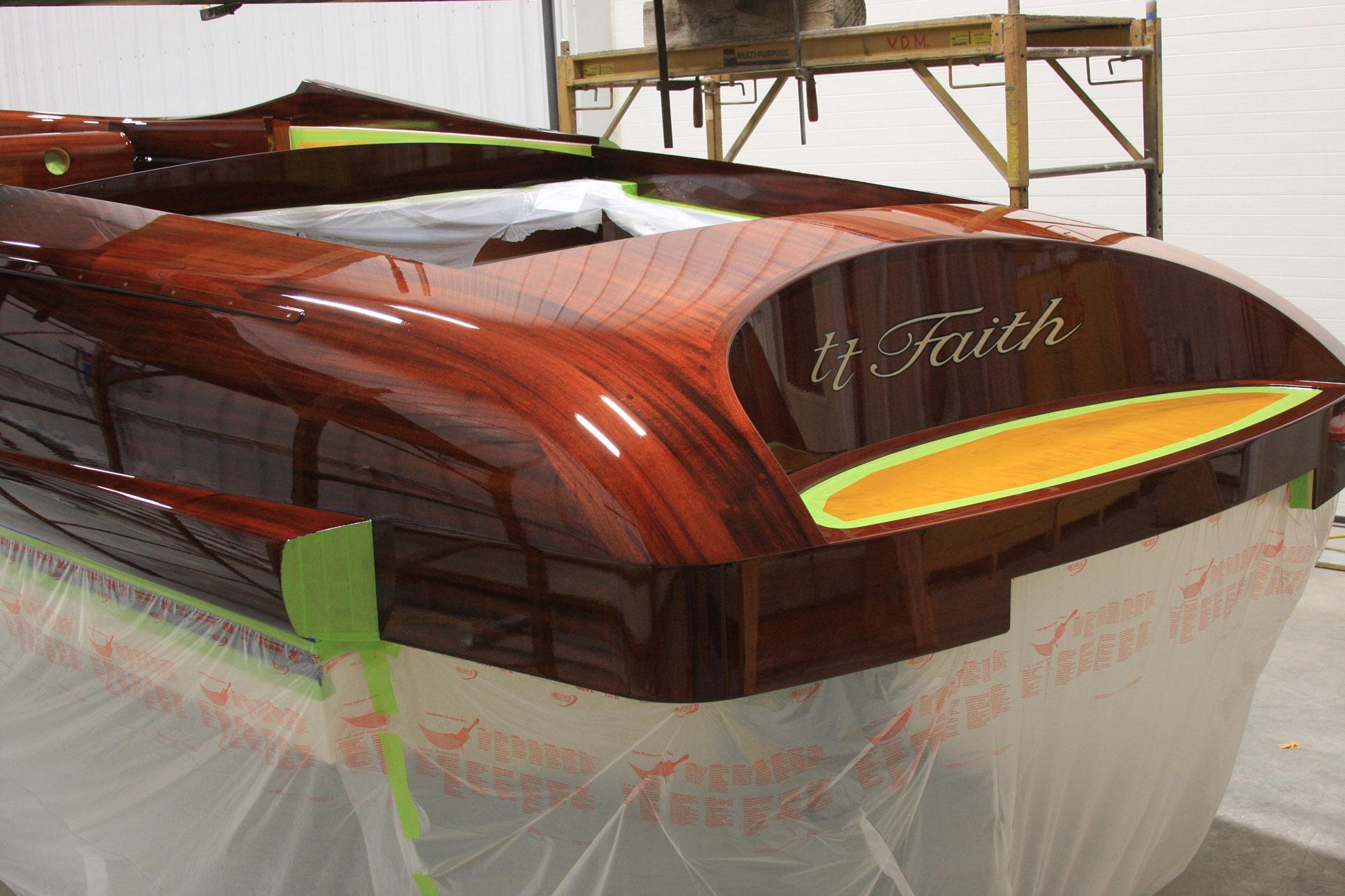 TT Faith in varnish bay for finishing