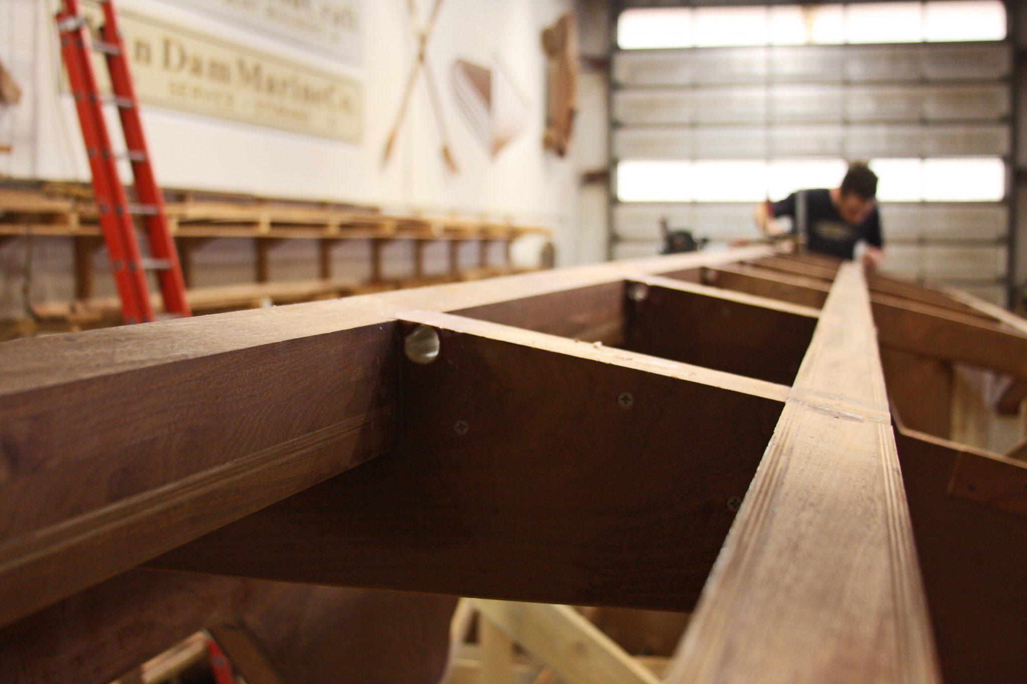 Checking position of mahogany chine