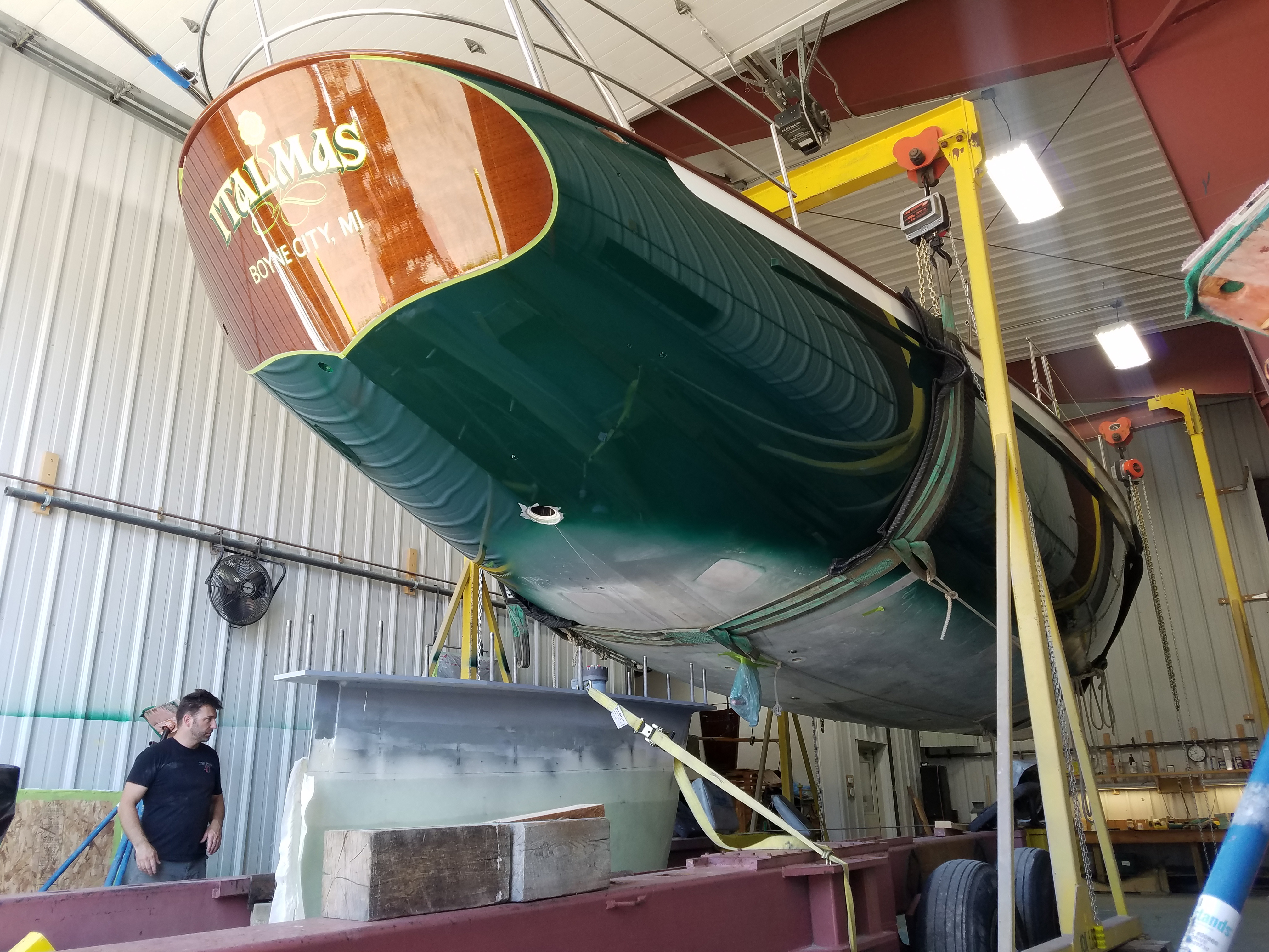 Staging test fit of keel on Italmas