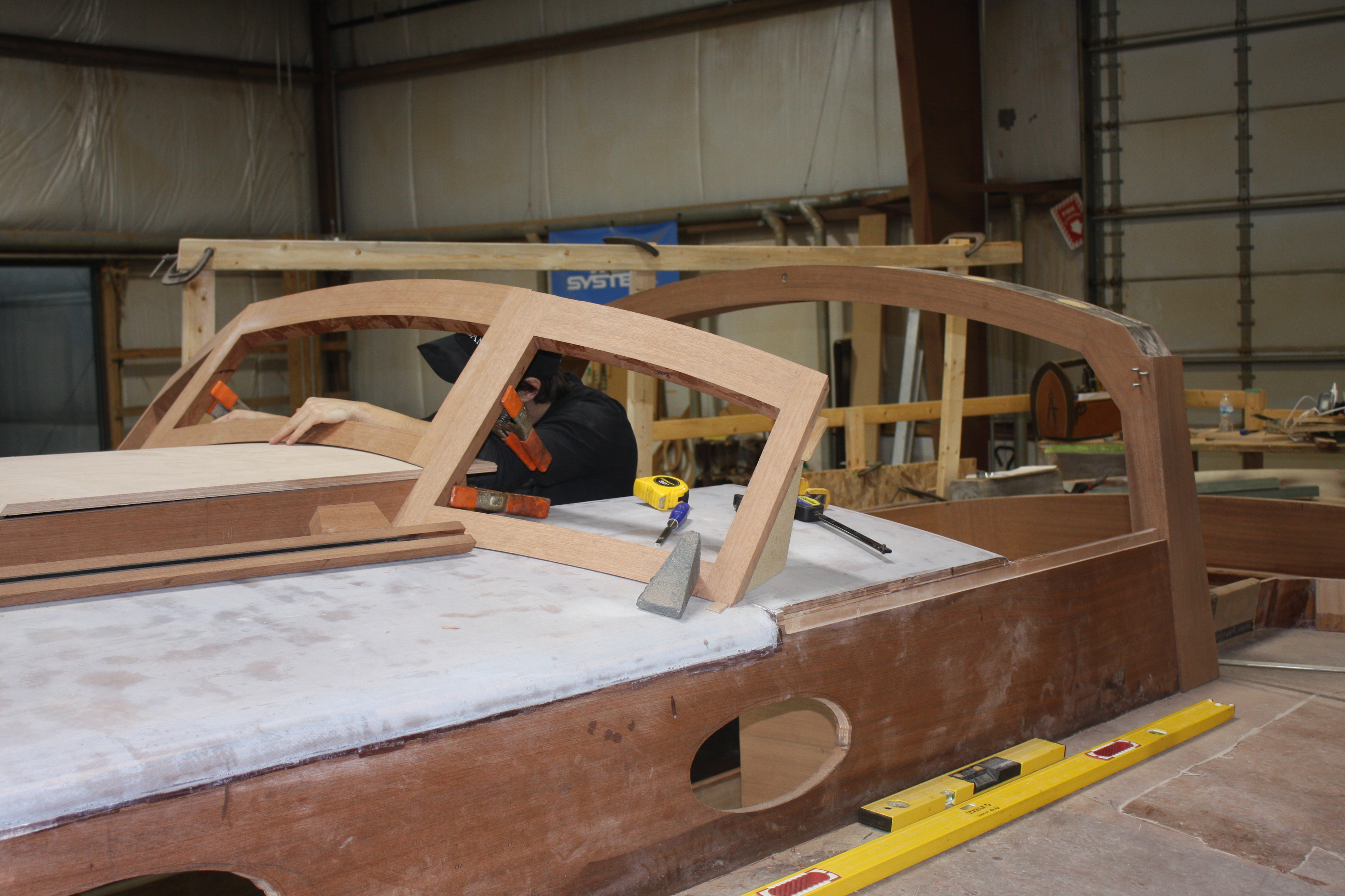 Windshield framing being installed