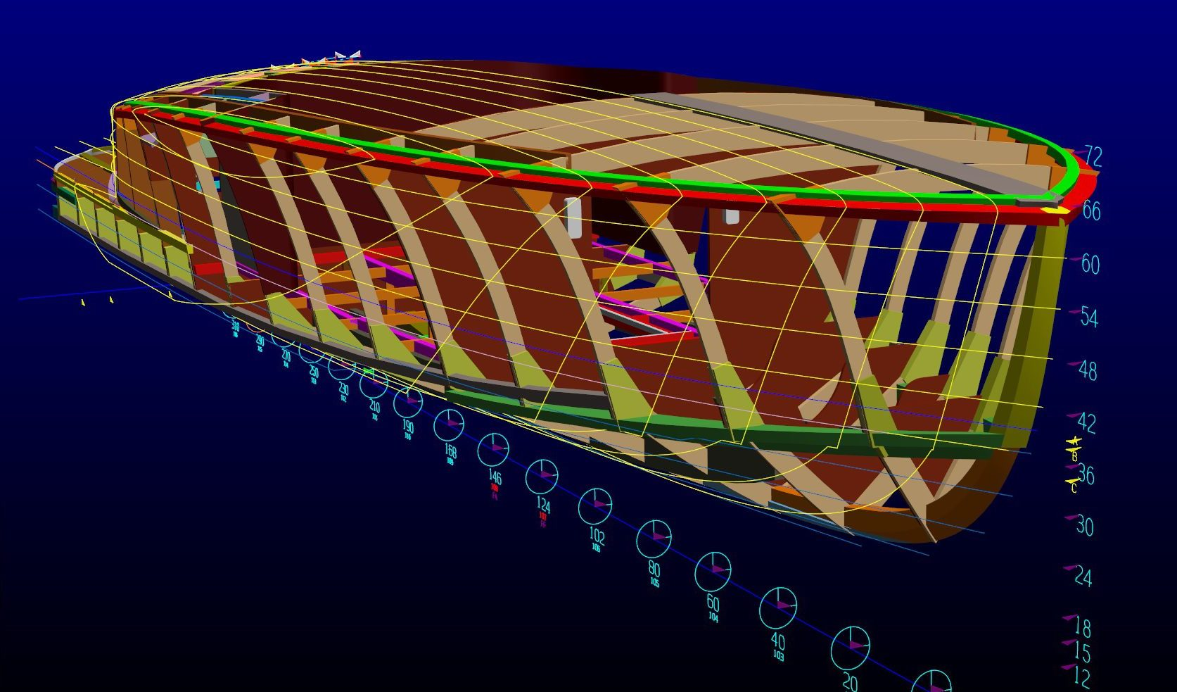 3D rendering of a custom wooden boat.