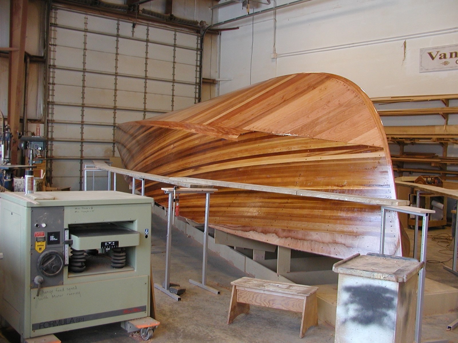 Hull planking drying on Blue Star