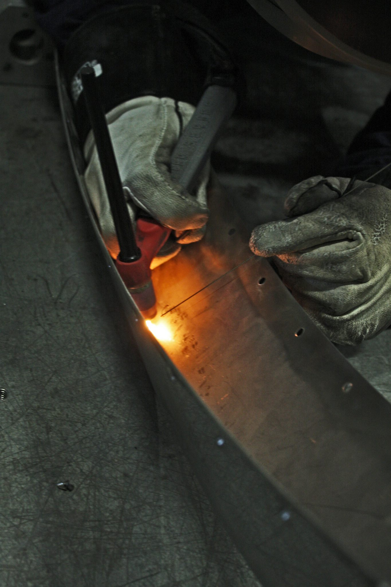 Welding the cutwater on Catnip
