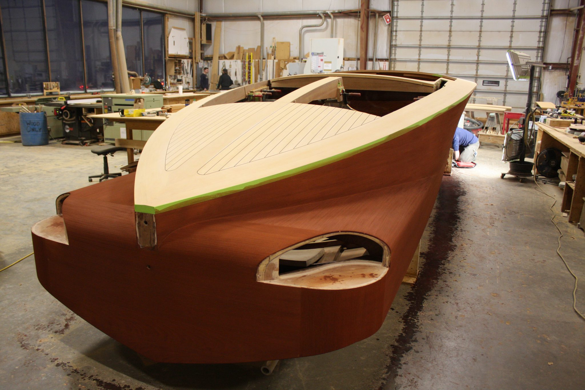 Varnish applied to hull